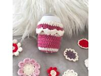 9oz Tommee Tippee pink crochet bottle cover bottle cosy