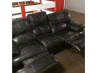 BLACK 3+2 LEATHER RECLINER SOFAS - MUST GO ASAP - FREE DELIVERY LONDON POSTCODES ONLY - £295