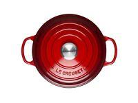 Le Creuset Signature Cast Iron Round Casserole Dish, 34 cm - Cerise / Red