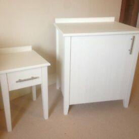 Matching Cupboard and Side Table Painted in Laura Ashley Creamware