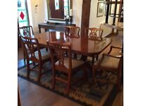 Dining Table with Eight Chairs, Solid Yew wood, Chairs newly reupholstered. Ready for Christmas.