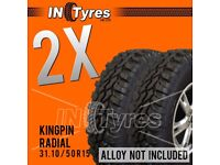 2x 31.10/50R15 Kingpin Tyres 31 10 50 15 Mud Terrain MT Retread Like Insa Turbo