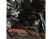 100 x black wooden hangers