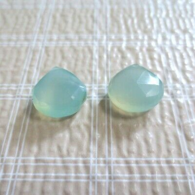 2pc Light Green Chalcedony Faceted Teardrop Onion Beads 10-12mm Faceted Chalcedony Beads