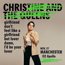 4x Christine & the Queens standing tickets, O2 Apollo Manchester, Tuesday 27th November 2018