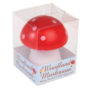 dotcomgiftshop RED TOADSTOOL LED NIGHT LIGHT. BATTERIES INCLUDED