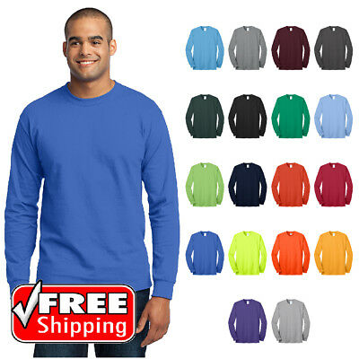 Mens TALL LONG SLEEVE T-SHIRT 50/50 Blend Comfort Durable Soft Blank Tee PC55LST Blend Long Sleeve Tee