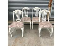 Set of 4 dining chairs solid pine, carved backs floral upholstery
