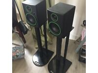 "Pair Mackie CR3 3"" Inch Active Powered Reference Studio DJ Monitors Speakers 50W - WITH FREE STAND"
