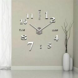 Modern Large Wall Clock 3D Mirror Sticker Unique Big Number Watch DIY Decor USA