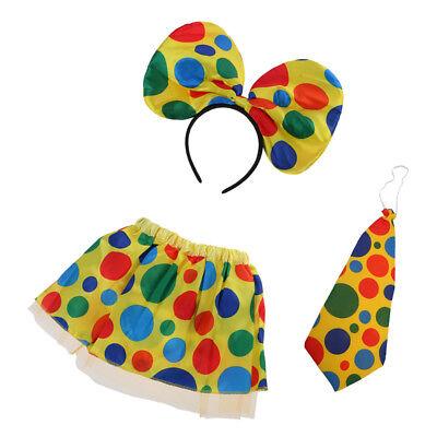 Adults Kids Polka Dot Clown Circus Headband Tie Skirt Birthday Party Cosplay