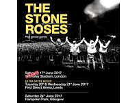 4x The Stone Roses standing tickets, Hampden Park Stadium Glasgow, Saturday 24th June 2017