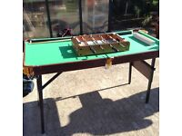 Snooker table and table top football game