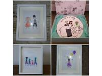 Handmade button pictures and plates