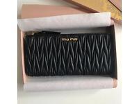 Genuine Miu Miu wallet black lambskin