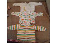3 Next unisex 0-1 month baby grows onesies