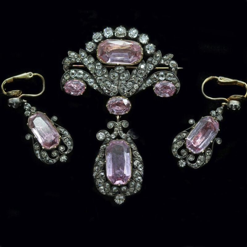 Antique Brooch Pendant Earrings Diamonds Pink Topaz Gold Silver Appraisal (6306