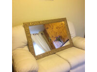 Ornate Gold Framed Mirror can be hung Landscape or Portrait Good Quality