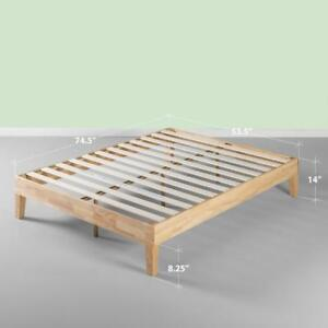 Zinus 14 Inch Deluxe Wood Platform Bed/No Boxspring Needed/Wood Slat Support/Natural Finish, King NEW