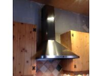 Satin Stainless Steel Oven Extractor Hood.