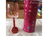 Hand painted wine glass by Lolita.