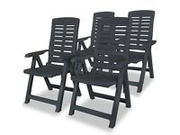 Reclining Garden Chairs 4 pcs Plastic Anthracite-275071