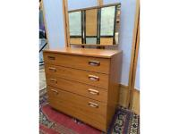 Vintage 4 Drawers Chest with Mirror on Castors