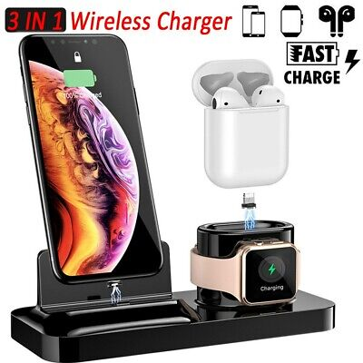 3 IN 1 Wireless Charger Dock Stand Station For Phone iPhone Apple Watch 1/2/3/4