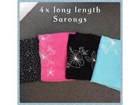 4x beautiful long length sarongs all one size