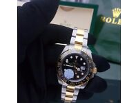 New Mens boxed two tone Bracelet black dial black ceramic bezel K ONE Rolex GMT Master II watch