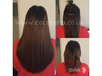Russian Brazilian Indian Remy virgin mobile micro rings hot fusion hair extensions from £140