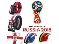 MENS DESIGNER BELTS FOR MEN WOMEN WORLD CUP 2018 CANVAS WEB BELTS UNISEX FOR ALL AGES = 5 COUNTRIES