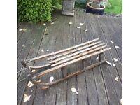 Large wooden vintage sledge