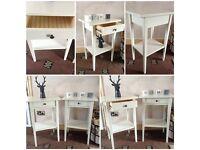 2x modern ikea hemnes bedside tables drawer white
