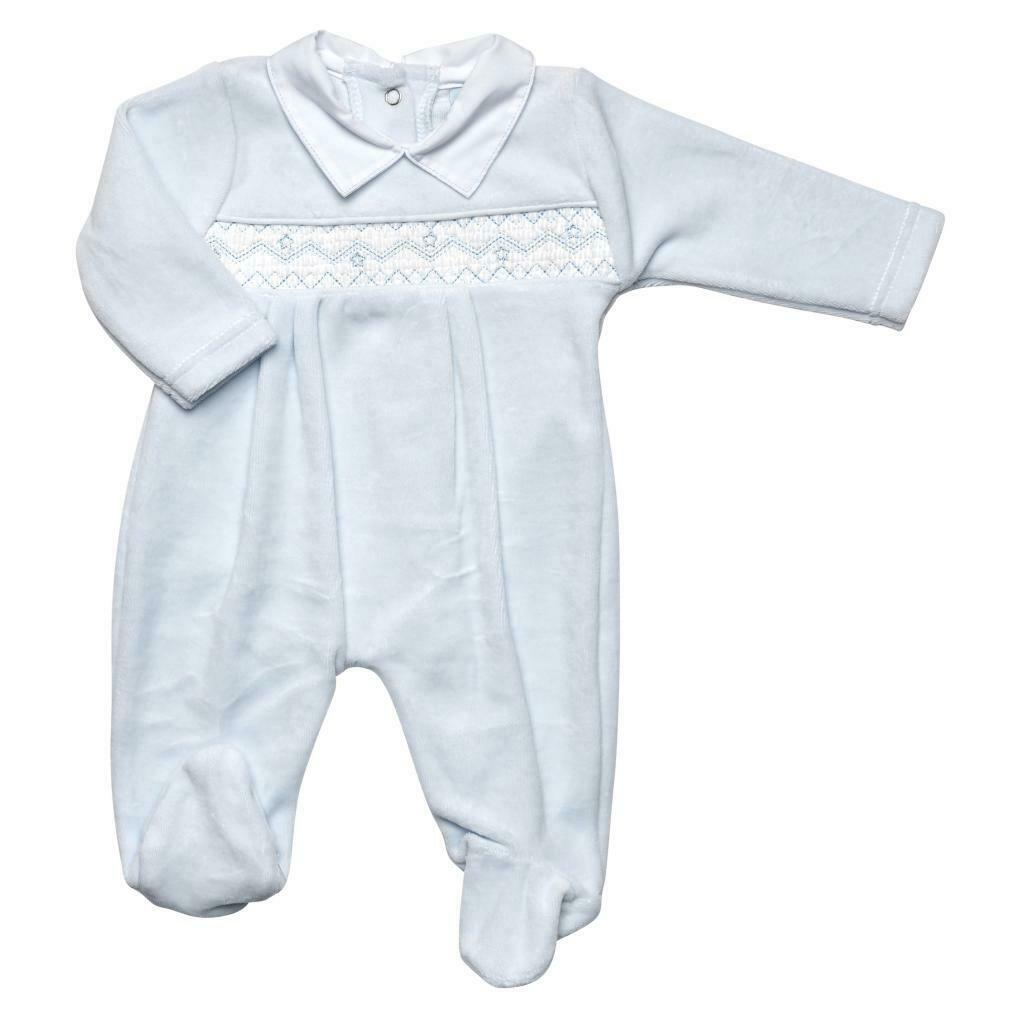 Baby boys clothes Spanish style velour smocked stars baby grow  0-3 3-6 months