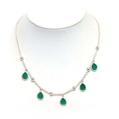 "New Ippolita 5 Mini Green Teardrop and Ball Sterling SIlver Necklace 16-18"" NWT"
