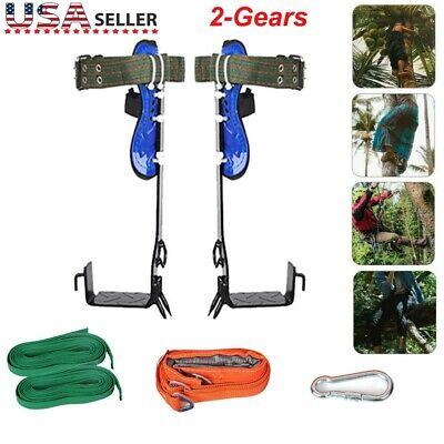 Stainless Steel Tree Climbing Spike Set Safety Belt Adjustable Lanyard W2 Gear