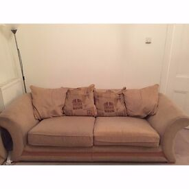 Pair of Large Beige Fabric Three Seater and Two Seater Sofa Set