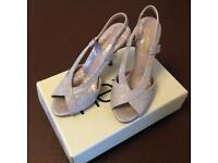 Silver sandals with small heel (size 4)