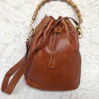 Gucci Brown Leather 2-way Draw String Handbag-Shoulder Bag 12inx10inx6in