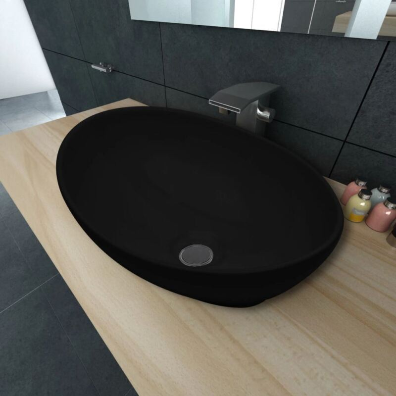 "vidaXL Ceramic Basin Oval-shaped 16.1""x13.4"" Black Bathroom Vessel Sink Bowl"