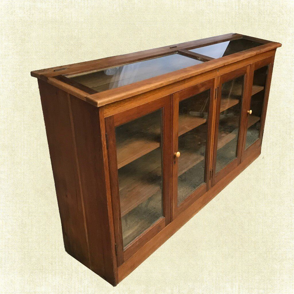 Rare antique solid oak glass vintage shop display for Antique display cabinet