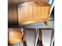 Babies R Us Pine Cot Bed & Slumberland Waterproof Mattress
