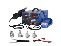 WEP 4 in 1 Soldering Iron Station Hot Air Rework Gun Desoldering Station 700W LED Display