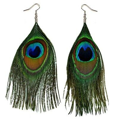 Green Peacock Feather (REAL PEACOCK FEATHER EARRING PAIR Bird Dangle Jewelry Green Natural Light)