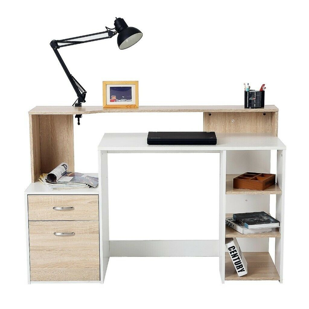 Homcom Wooden Computer Desk PC Modern Home Office Printer ...