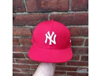 New Era fitted NY red cap