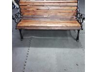 Great Garden Bench with Quality Heavy Ornate Wrought Iron Ends