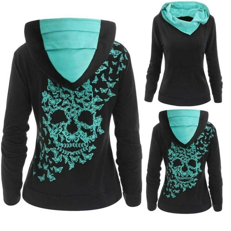 Women Fashion Butterfly Skull Print Hoodie Sweatshirt Tops J