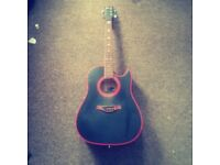 Acoustic Guitar, red and black